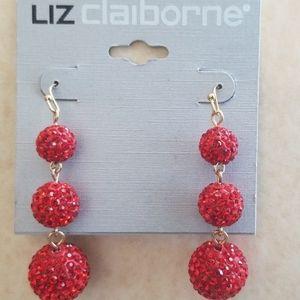 LIZ CLAIBORNE SPARKLING RED EARRINGS